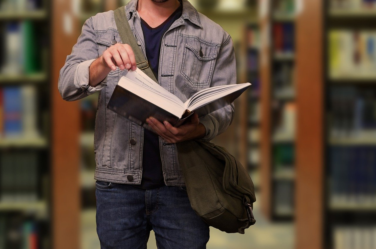 student, book, library