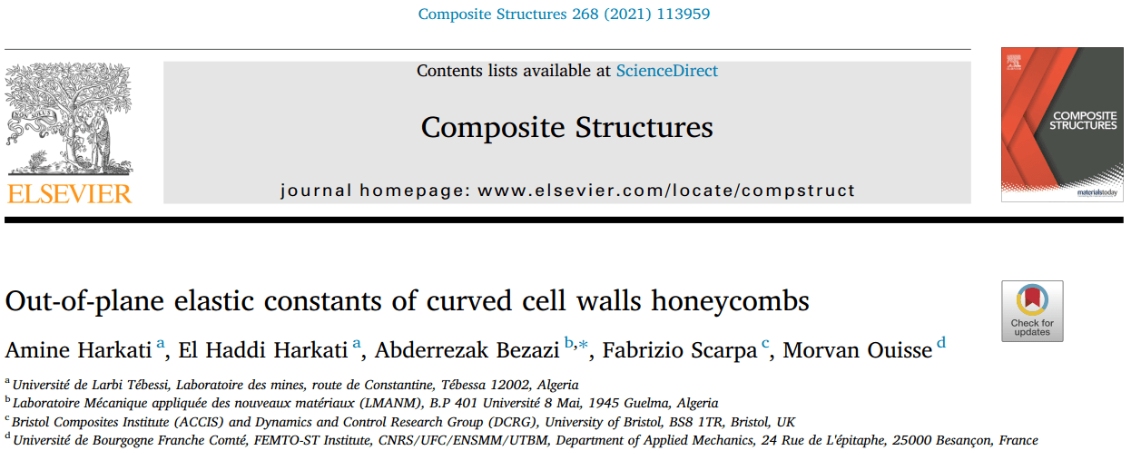You are currently viewing composite structure publication/ Out-of-plane elastic constants of curved cell walls honeycombs