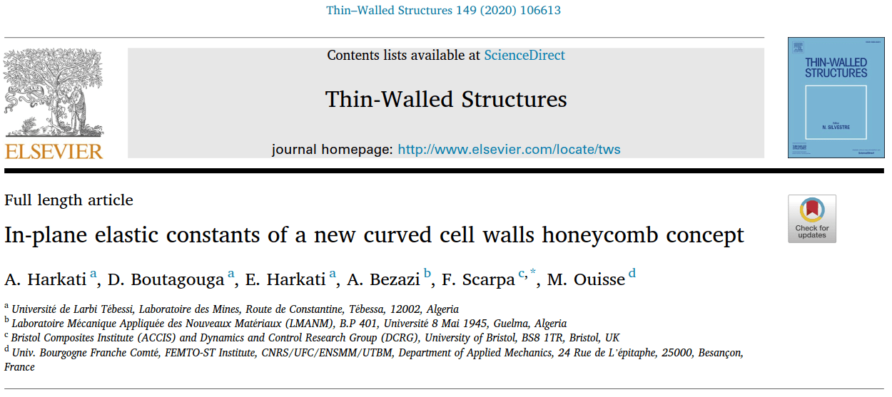 In-plane elastic constants of a new curved cell walls honeycomb concept